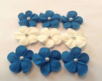 Royal Icing flowers 100 blue and Ivory great for Cake Decorating Sugar Flowers