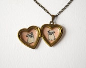 Pug Necklace - Pet Lover Gift - Heart Locket Necklace with Pug Dogs Illustrations