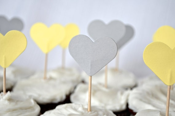 12 Gray and Yellow Heart Cupcake Picks, custom colors available