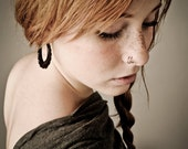 New - Flower Hoops - Wooden Earrings Post Design -Brown 1