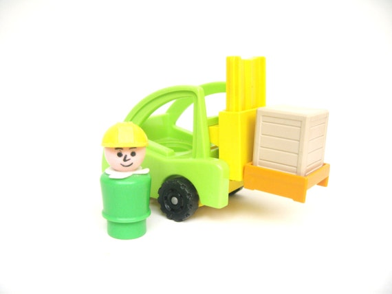 Fisher Price Green Forklift Construction Vehicle