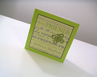 Neon Green and Chartreuse One of a Kind Any Occasion Friendship Script Square Handmade Greeting Card with Butterfly