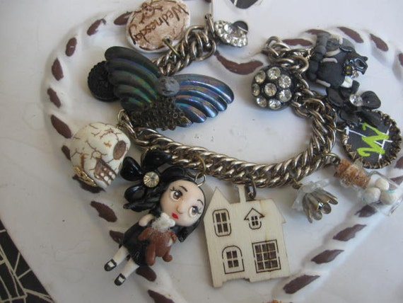 Wednesday Addams.vintage jewelry assemblage handsculpted charm bracelet
