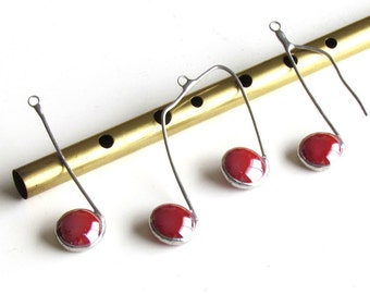 Cinnamon Red and Silver Glass Music Note Hanging Ornaments Set of Three (3) Stained Glass Stocking Stuffers Tree ornaments Package Tie-on