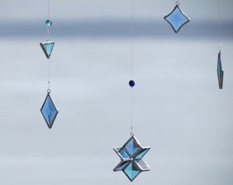 Blue and Turquoise Beveled Stained Glass Geometric Mobile