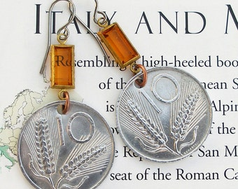 Italy, Vintage Coin Earrings - - Get Healthy - - Health Foods - Wheat - Farro - Italian Coins - World Travel - Old Money - Boho Style