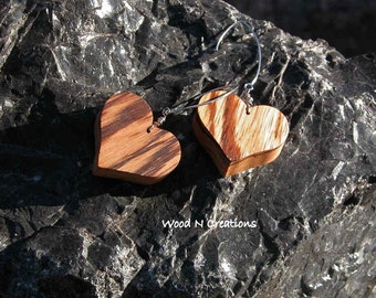Earrings Dangle Solid Heart Shape Brown Striped Zebra Wood