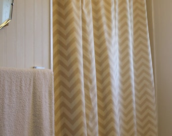 Khaki Tan Natural Ivory Zigzag Chevron Shower Curtain