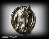3 Horse Head Horseshoe Pendants Plated Silver Ox Raw Brass Charms Stamping Embellishment  Jewelry Findings (s18)