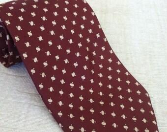 Ivory Toggles on Rich Burgundy Vintage GILLES HERVIER Silk Necktie