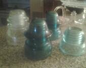 Vintage blue glass insulators