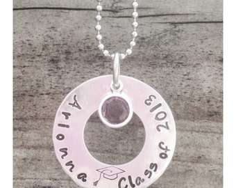 Personalized Hand Stamped Graduation Gift Necklace or Key Chain