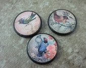 Bird Pendant SET 1 inch Custom Drilled Ephemera Tile Spring charms