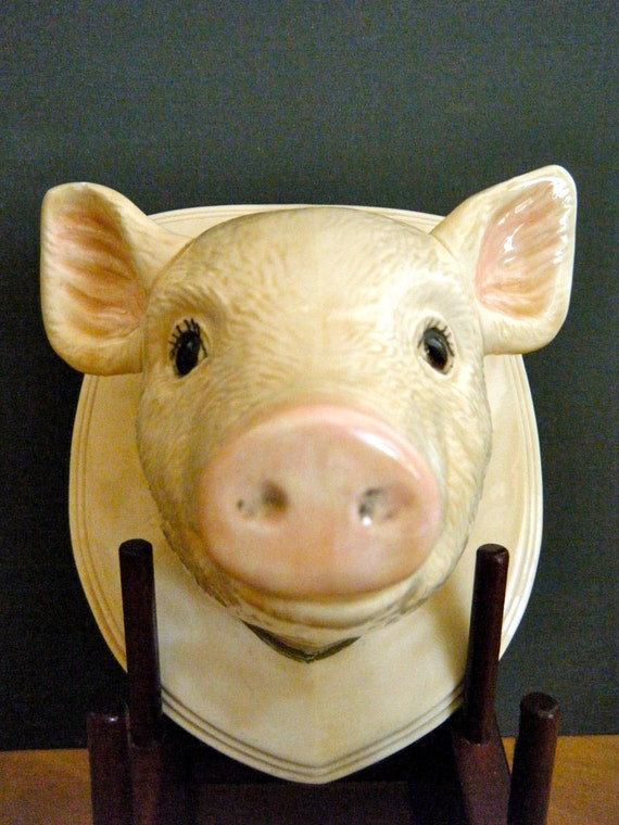 Wall Mounted Ceramic Pigs Head Sweet Babe With Great Detail