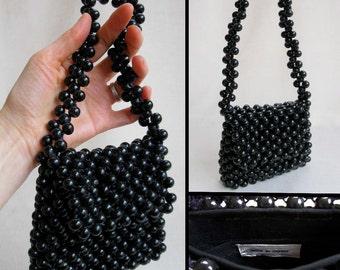 Vintage Mod Black Wooden Bead Purse or Handbag, Made in Japan
