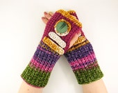 Knit fingerless gloves knitted arm warmers multicolor fingerless mittens long purple fuchsia mustard fashion vegan