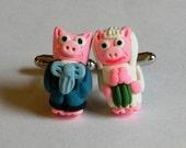 Bride and Groom Pig Wedding Cufflinks - Handmade with Polymer Clay - Animals - Gifts Under 50, 100
