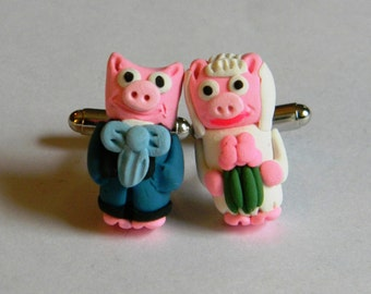 Bride and Groom Pig Wedding Cufflinks - Handmade with Polymer Clay - Animals - Gifts Under 50, 100