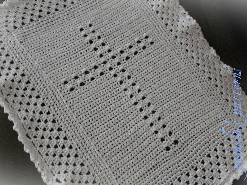 Crochet Pattern For Christening Blanket : Crochet Christening Blanket Cross PDF Pattern Baby Afghan