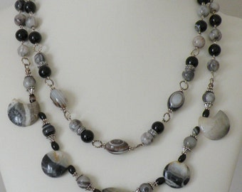 Set of Black, Grey and Striped Agate Necklaces