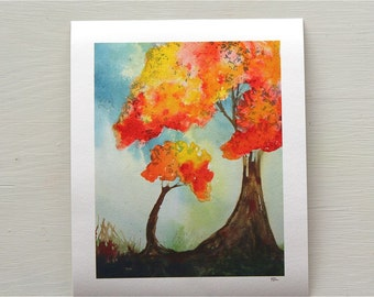 two trees watercolor print, mother and child, nursery art, orange, blue, autumn, fall, giclee print, storybook style