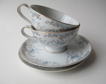 Vintage Imperial China Seville Blue Taupe Rose Teacup & Saucer Pair