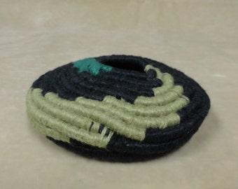Emerald & Black Coiled Basket