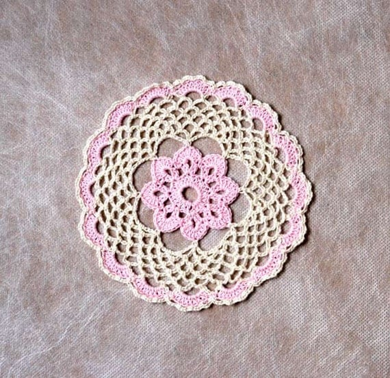 Soft Pink Rose Crochet Lace Doily, Shabby Chic Home Decor, Handmade