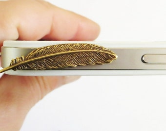 Small Feather Cell & iPhone Dust Plug- Universal Headphone Dust Plug - Brass Ox