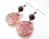 Etched Copper Snake Earrings