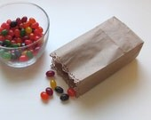 50 Candy Buffet Bag Kraft Extra Small Paper Bags with Lace Edge for Wedding Favors or Showers or Party Gifts