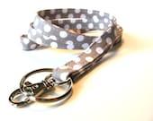 Grey and White Small Dots Skinny Lanyard ID Badge Holder - Key Strap