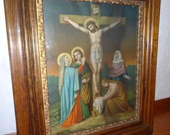 Antique Jesus Cross Religious Colored Lithograph  Art Framed Print