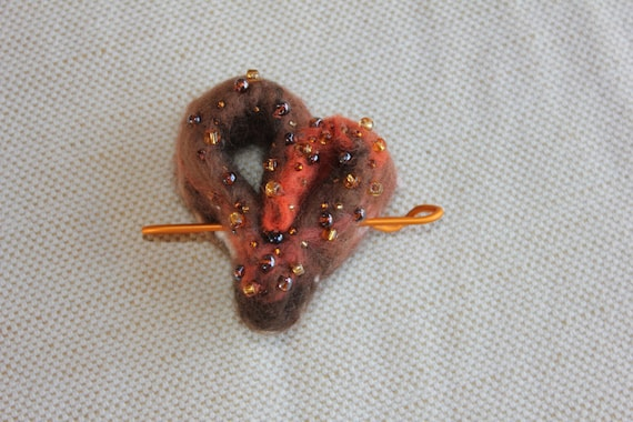 Felted wool heart brooch / shawl pin - brown orange gold Autumn tones lagenlook -  gift for her