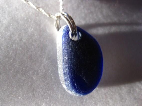 Deep Dark English Seaglass necklace sea glass jewelry beach jewelry