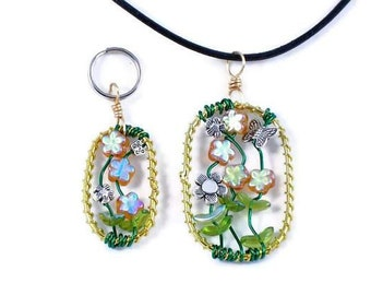 Our Garden - dog & owner matching jewelry set, wearable art includes collar charm for pet and a necklace for you