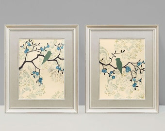 Love Bird Prints, Cottage Chic Wall Decor, Large Prints, Set of Two, 9 x 12 inches