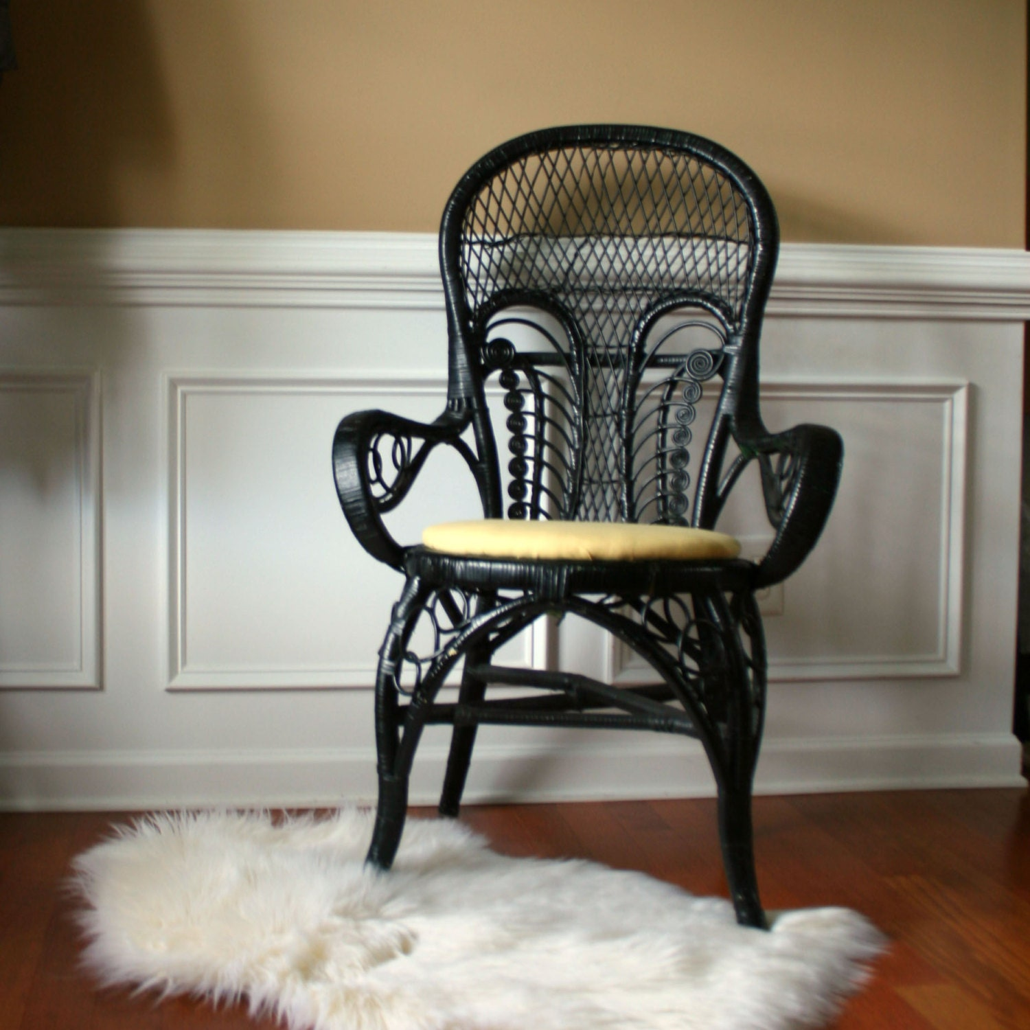 Asian Wicker Accent Chair: Vintage Modern Rattan Arm Chair Black Chinoiserie Accent Desk