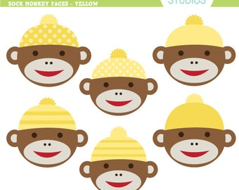 Sock Monkey Faces - Yellow - Clip Art Set - Digital Elements Commercial use for Cards, Stationery and Paper Crafts and Products