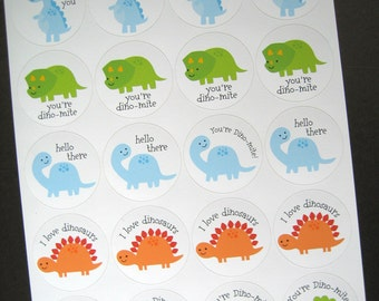 """Dinosaur Stickers Printed 2"""" Circle Sticker Sheets Blue Green Orange Cute Stickers, Cupcake Toppers, Tag, Label, Stationery by Kelly Medina"""