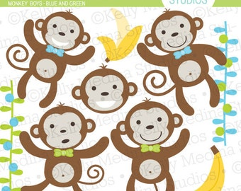 My Little Monkey - Boy - Clipart Set Digital Elements for Cards, Stationery and Paper Crafts and Products