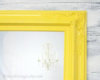 "ANY COLOR - Yellow White Aqua Framed Baroque Bathroom Vanity Mirror Baby Nursery Decor 27""x23"" Decorative Ornate Unique Mirror Rectangle"