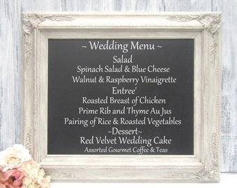 "IVORY FRAMED CHALKBOARD Distressed Framed Menu Board Kitchen Chalk board Shabby Chic Magnetic Chalkboard Blackboard 27""x23"" Unique Gift"
