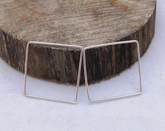 Sterling Silver Square Hoop Earrings.   Sterling Silver Hoops.  Simple Hoops. Handcrafted Jewelry by ZaZing