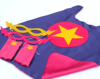 Childrens Super Hero Cape PLUS 2 Accessories-girl birthday gift