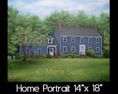 14x18 Home Portrait - Oil on Canvas by Maria Burd