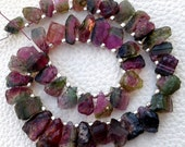 GIANT Size, 1/2 Strand,Brand New, Amazing WATERMELON Tourmaline Hammered Rock Tip Drilled Nuggets,8-10mm,,Amazing Rare Item