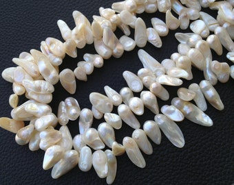 Brand New, Cream White FRESH WATER PEARL Smooth Tip Drilled Nuggets Shape Briolettes,10-18mm Long size,Full 15 Inch Strand,Gorgeous Item