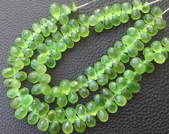 Brand New,6 Inches Strand, Rare PERIDOT GREEN Chalcedony Faceted Drops Briolettes,10-12mm Long size,GORGEOUS.