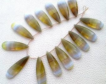 Brand New, 2 Matched Pairs, Aprx.35mm Long,  BIO-Color Chalcedony Elongated Pear Briolettes,Amazing Item at Low Price